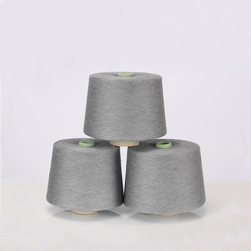 Темно серая чесаная хлопчатобумажная и серебряная нить для шитья текстильная пряжа 32 s Антистатическая (90% хлопковое волокно + 10% Серебряное волокно)
