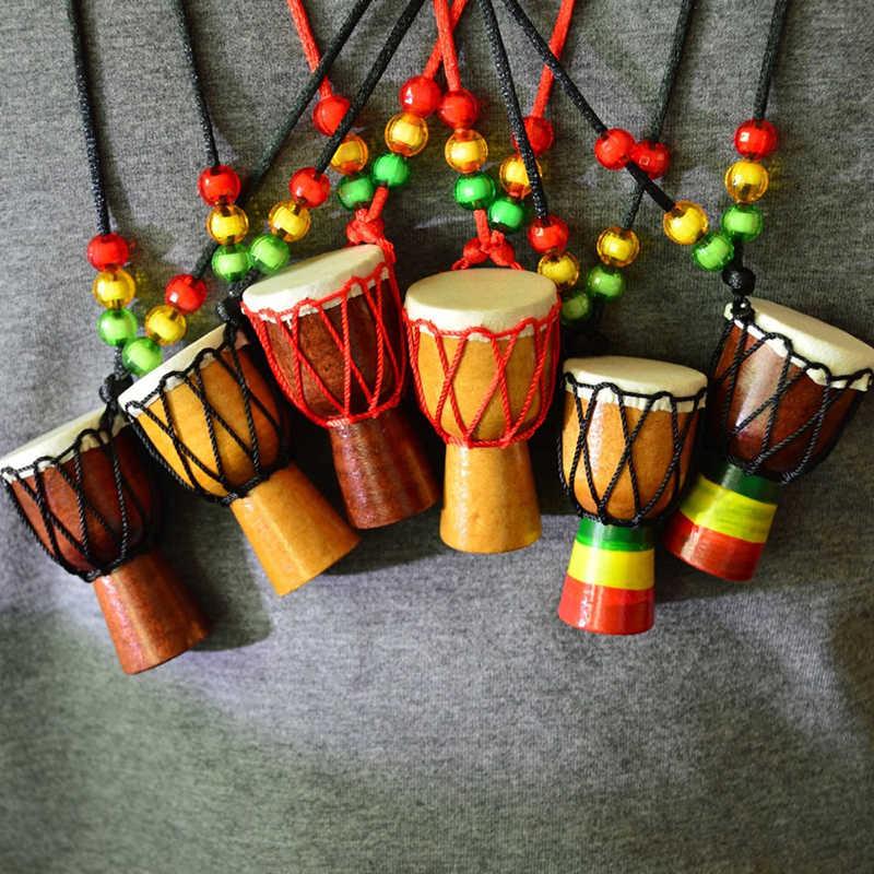 Tambor Africano madera étnica colgante collar clásico Mini pandereta niños collar moda niños collar joyería cuerda cadena
