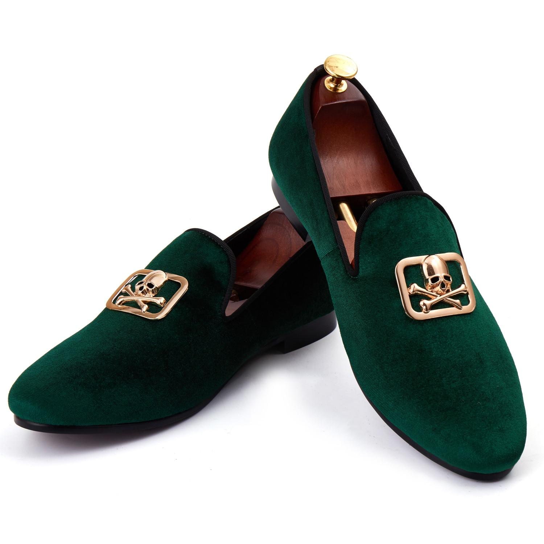 Harpelunde Gold Skull Buckle Men Formal Shoes Green Velvet Slippers Custom Loafer Shoes Size 7-14