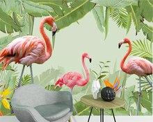 beibehang Custom wallpaper flamingo banana leaf TV background wall paper home decoration living room bedroom murals 3d wallpaper beibehang wall paper home decor mural fresh green banana leaf oil painting tv background wall living room bedroom 3d wallpaper