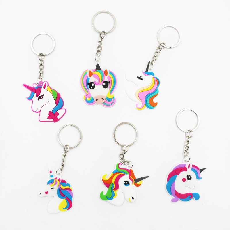 10ps Rainbow Unicorn Party Decoration Rubber Keychain Baby Shower