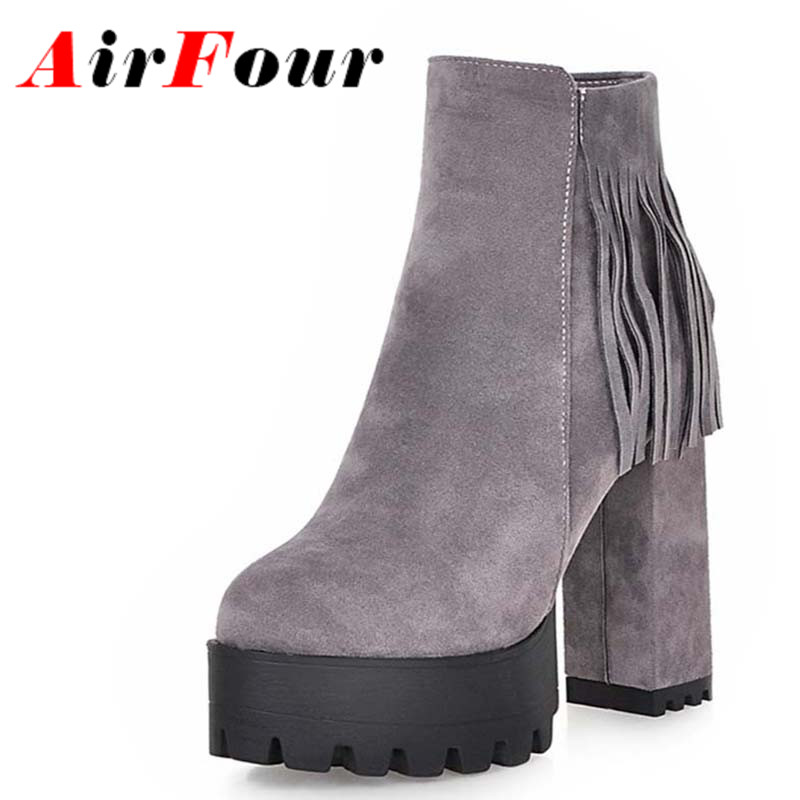 ФОТО Airfour Square High Heels Ankle Boots for Women Round Toe Tassel Boots Women Platform Shoes Woman Black Gray Boots