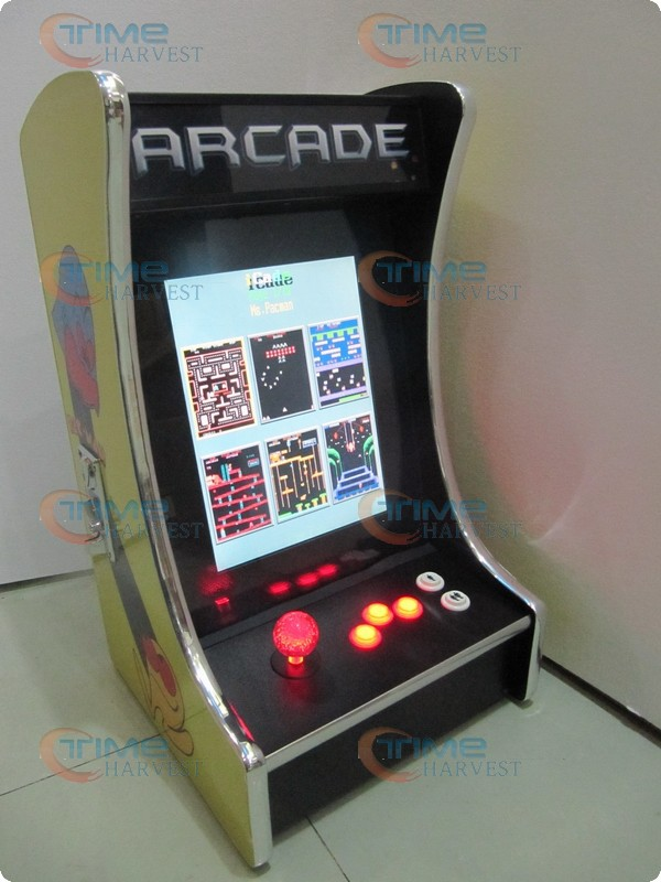 15 inch LCD Table top arcade Machine With Classical games 60 in1 Game PCB with Iluminated joystick and Round button good quality mini table top air hockey game pushers pucks family xmas gift arcade toy playset