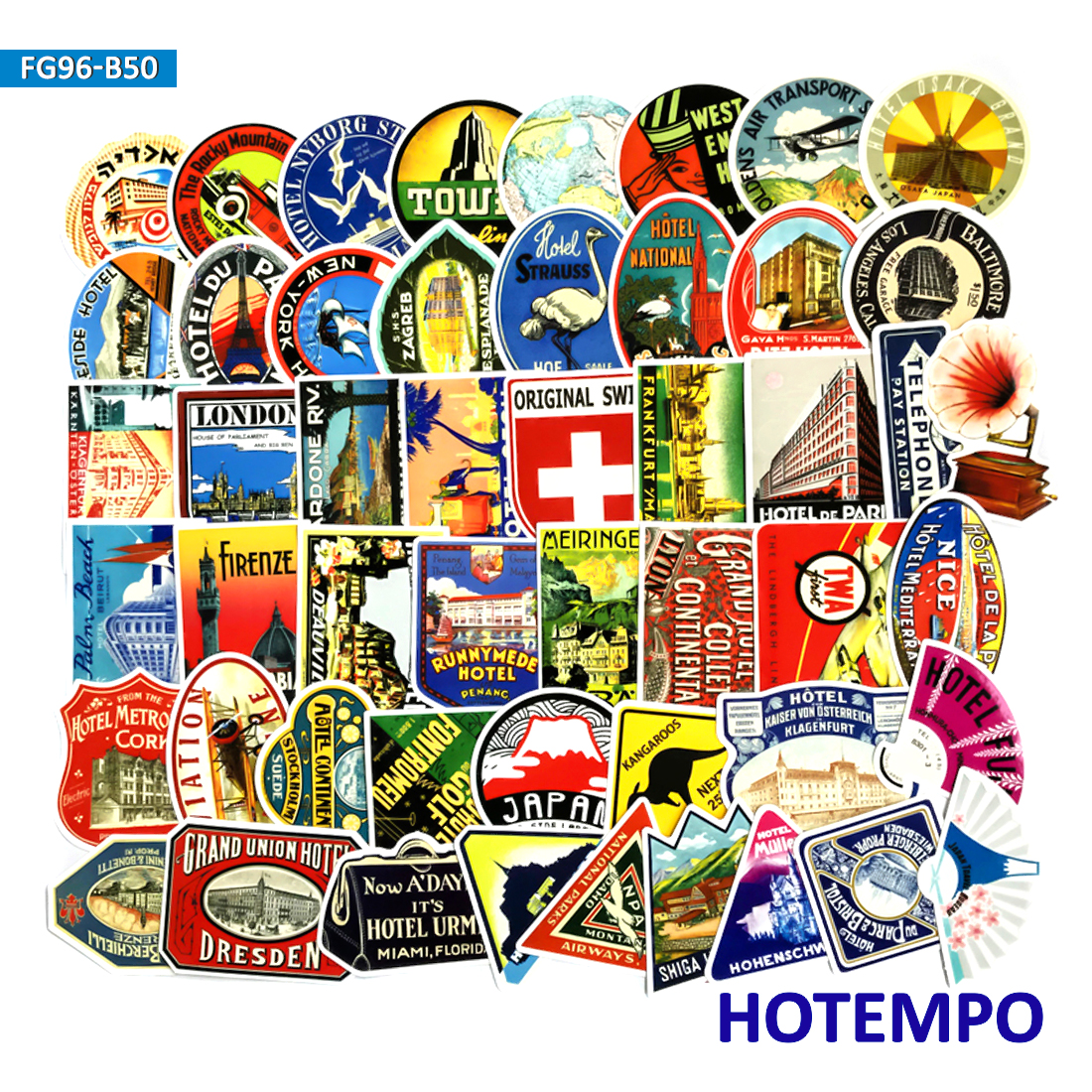 55Pcs Stickers Vintage Old Fashion Style For Car Luggage Skate Laptop