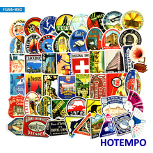 50/55pcs Vintage Hotel Travel Retro Poster Style Logo Stickers on Mobile Phone Laptop Luggage Suitcase Skateboard Decal Stickers 55pcs mixed retro style travel hotel logo roma paris los japan chicago hawaii baghdad trip car sticker waterproof doodle decal