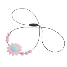 Baby Food Grade Silicone Sunflower Chain Flower Pendant Beads Necklace Teether T