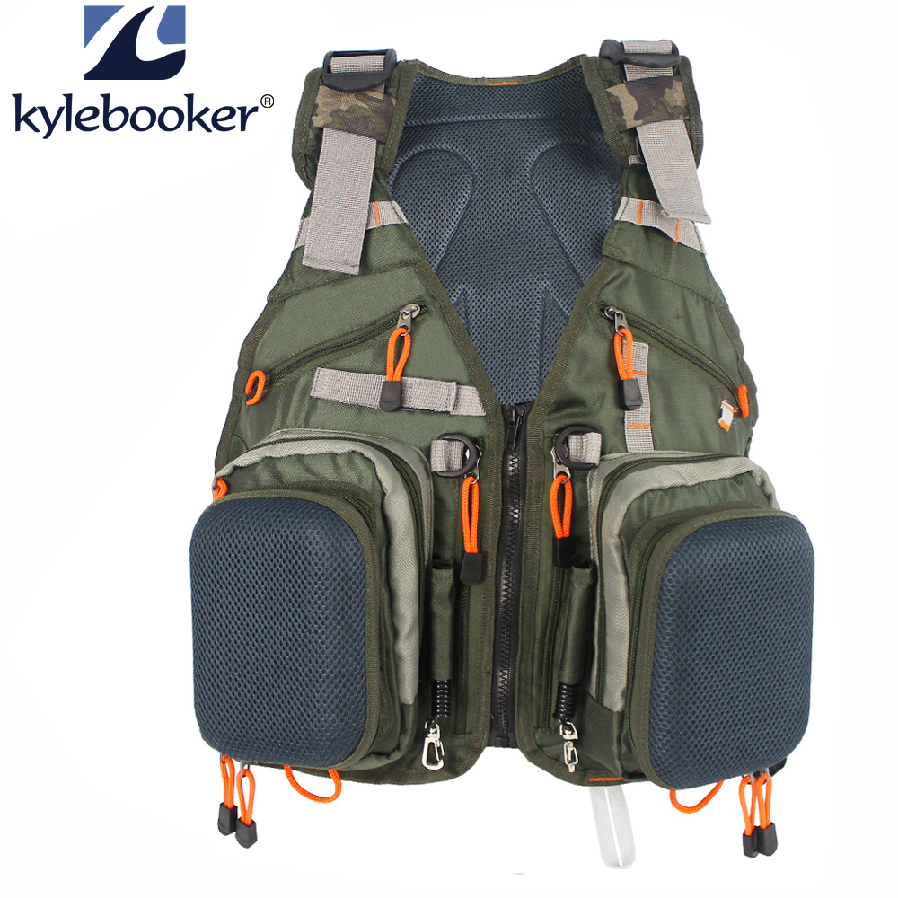 Army Green Adjustable Fly Fishing Vest Pack Multifunction Pockets Outdoor Sports Fishing Vest Backpack Fish Accessory outdoor sports pockets sv012199