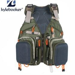 Nuevo ajustable hombres volar Chaleco de pesca paquete multifunción bolsillos al aire libre pesca caza Chaleco de malla de mochila pescado bolsa de accesorios
