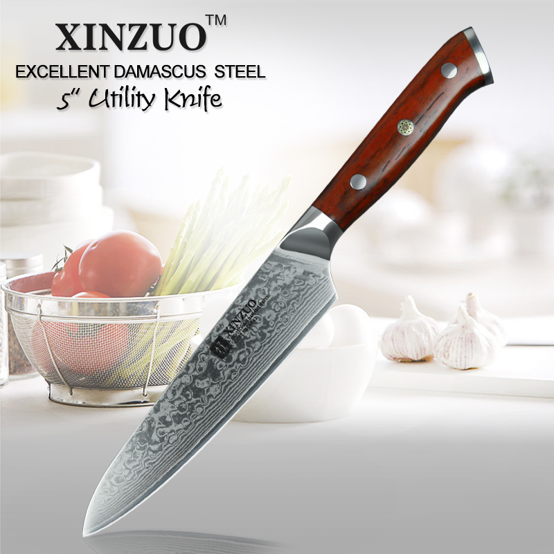 xinzuo 5 inch utility knife japanese damascus steel kitchen knife professional chef knives. Black Bedroom Furniture Sets. Home Design Ideas