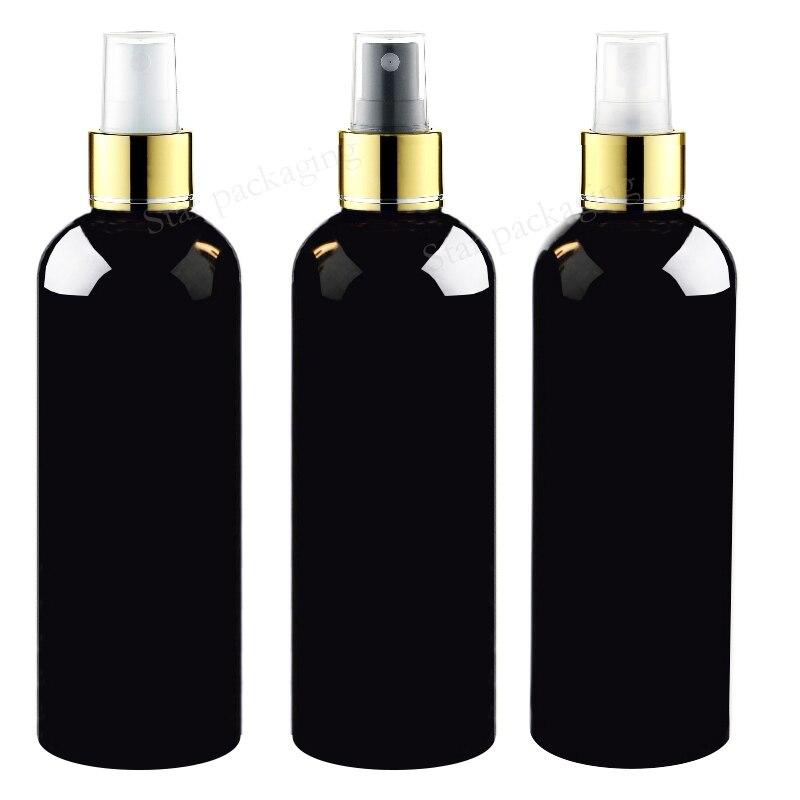 20X300ml black Sprayer gold Pump Bottle Makeup setting Fine Mist gold Spray Cosmetic Bottles Colored Plastic