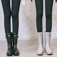 Removable inner mid calf Rain Boots for woman Ladies Rubber Shoes For Casual Walking Outdoor Waterproof Female Low Heel
