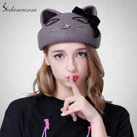 Sedancasesa New Female Hat Autumn Winter Korean Christmas Beret Hats For Cute Octagonal Cap British Painter