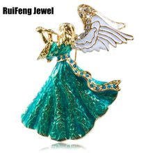 Besar Blue Angel Enamel Rhinestone Diamante Bros Pin Pernikahan Vintage Hadiah(China)