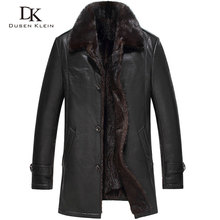 Dusen Klein New Brand Luxury Leather Jackets Genuine cowhide leather men's mink fur liner men leather coats 16Z16017N