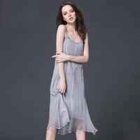 Summer Women Sexy Long Dresses 2018 Sleeveless Beach 100% Silk Maxi Homewear Camisole Black Plus Size Dress White Free Shipping