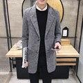 Casaco de Lã dos homens de Boa qualidade da marca outono inverno 2017 Fino fit homens do projeto longo blusão jaqueta casaco grande metros de espessura hot