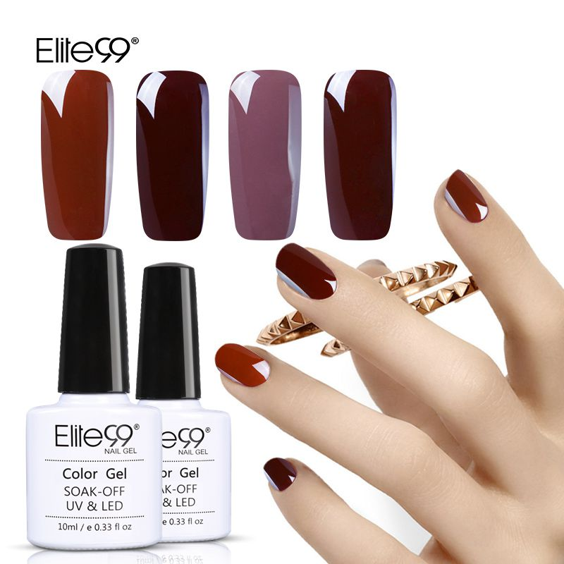 Elite99 Coffee Brown Pure Color Nail Gel Lacquer 10ML Nail Art Gel Polish Manicure Soak Off UV LED Gel Paint Semi Permanent
