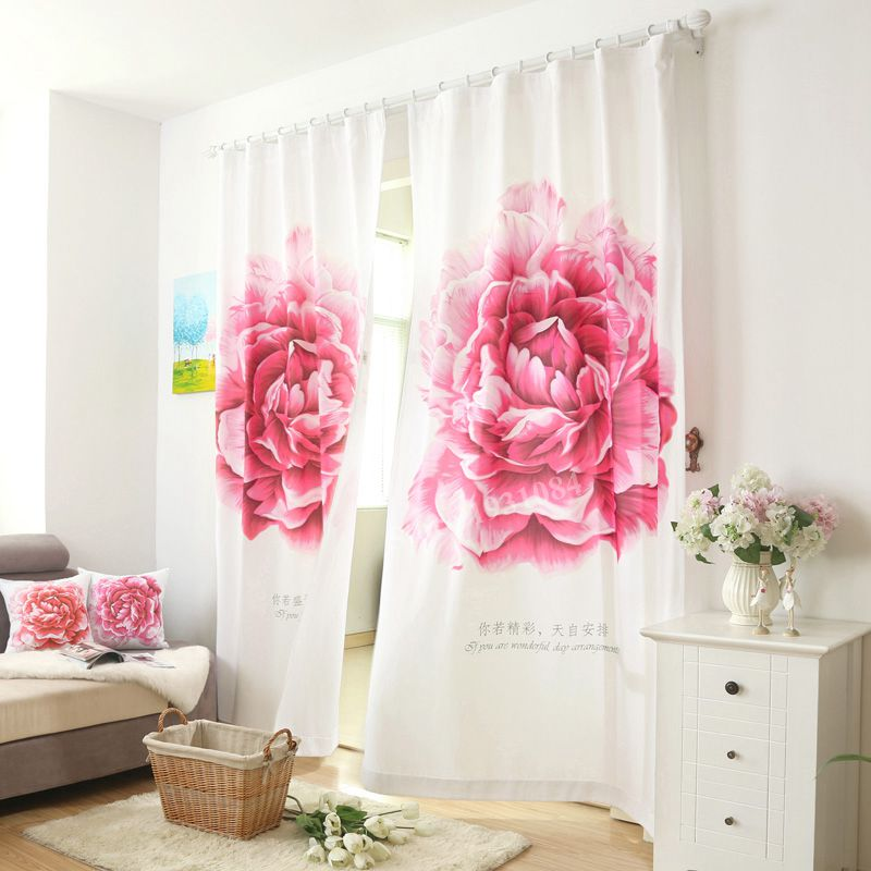 2PCS 140*200cm Red Flower Curtains For Living Room Kitchen Window Blackout Shower Curtain For Bedroom Peony Cortina Para Quarto2PCS 140*200cm Red Flower Curtains For Living Room Kitchen Window Blackout Shower Curtain For Bedroom Peony Cortina Para Quarto