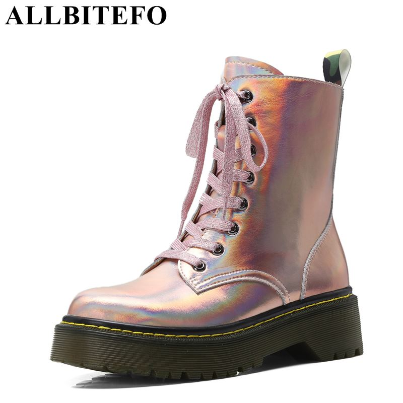 ALLBITEFO fashion casual genuine leather thick heel platform women boots brand high heels ankle boots girls motorcycle boots стоимость