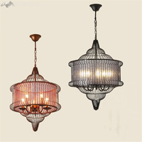 New Chinese Led Iron Bird Cage Penant Lights Dining Room Bar Restaurant Antique American Style Lantern Hanging LED Lamps Decor