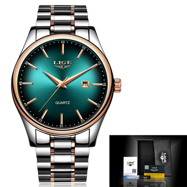 LIGE Top Brand Luxury Watches Men Stainless Steel Waterproof Watch Sport Quartz Mens WristWatch Business Clock relogio masculino