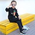Esportes da menina terno 2016 Moda Estilo de Roupa Meninas Define Conjuntos de Roupas Crianças Impressão dos desenhos animados Camisolas + Calças 2 5 8 10 12 14 16 anos