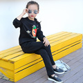 Girl sports suit 2016 Fashion Style Girls Clothing Sets Children Clothing Cartoon Print Sweatshirts+Pants 2 5 8 10 12 14 16 year