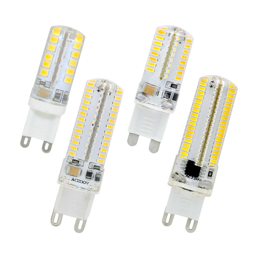 1pcs Silicone G9 LED Corn Bulb 220V Candle Light Replace 20w 30w 40w 50w Halogen lamp Chandelier 48 64 104 152LEDs Spotlight