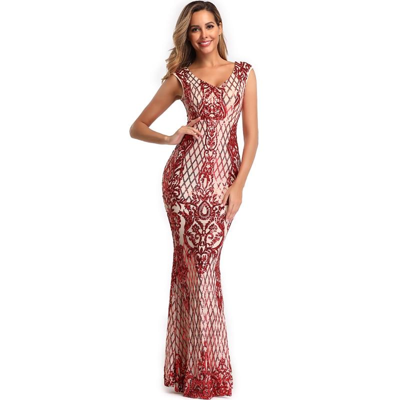 YIDINGZS Elegant V-neck Mermaid Burgundy Sequins   Evening     Dress   Sleeveless Party Long   Evening     Dress