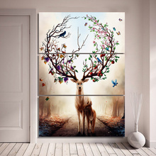 HD printed Canvas 3 piece Art Nordic Poster Dream Forest Elk Oil Painting wall Picture Deer Home Decore Hotel