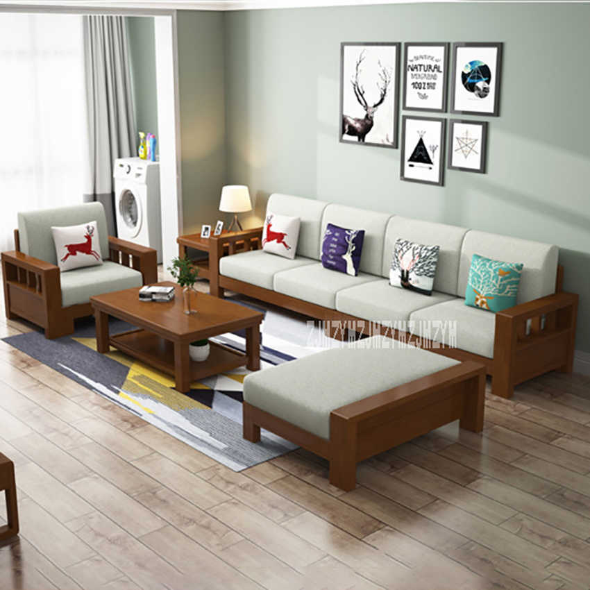 Living Room L-Shape Sofa Set 8809 Dual Purpose Home Solid Wood Sectional  Recliner Couch Modern Simple Corner Sofa Combination