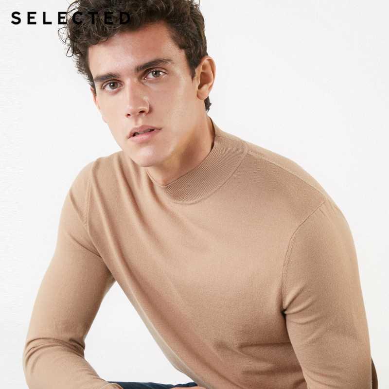 Выбранный мужской осенний чистый цвет макет шеи база вязаный свитер S | 418424533