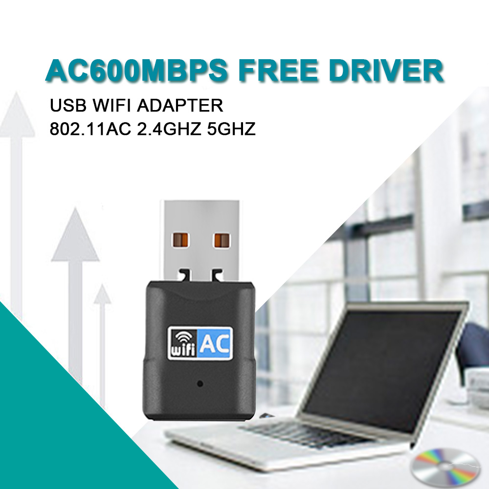 USB WiFi Adapter 600Mbps Free Driver Wireless USB Ethernet Network Card For Desktop Laptop Wifi Receiver Dongle 802.11ac