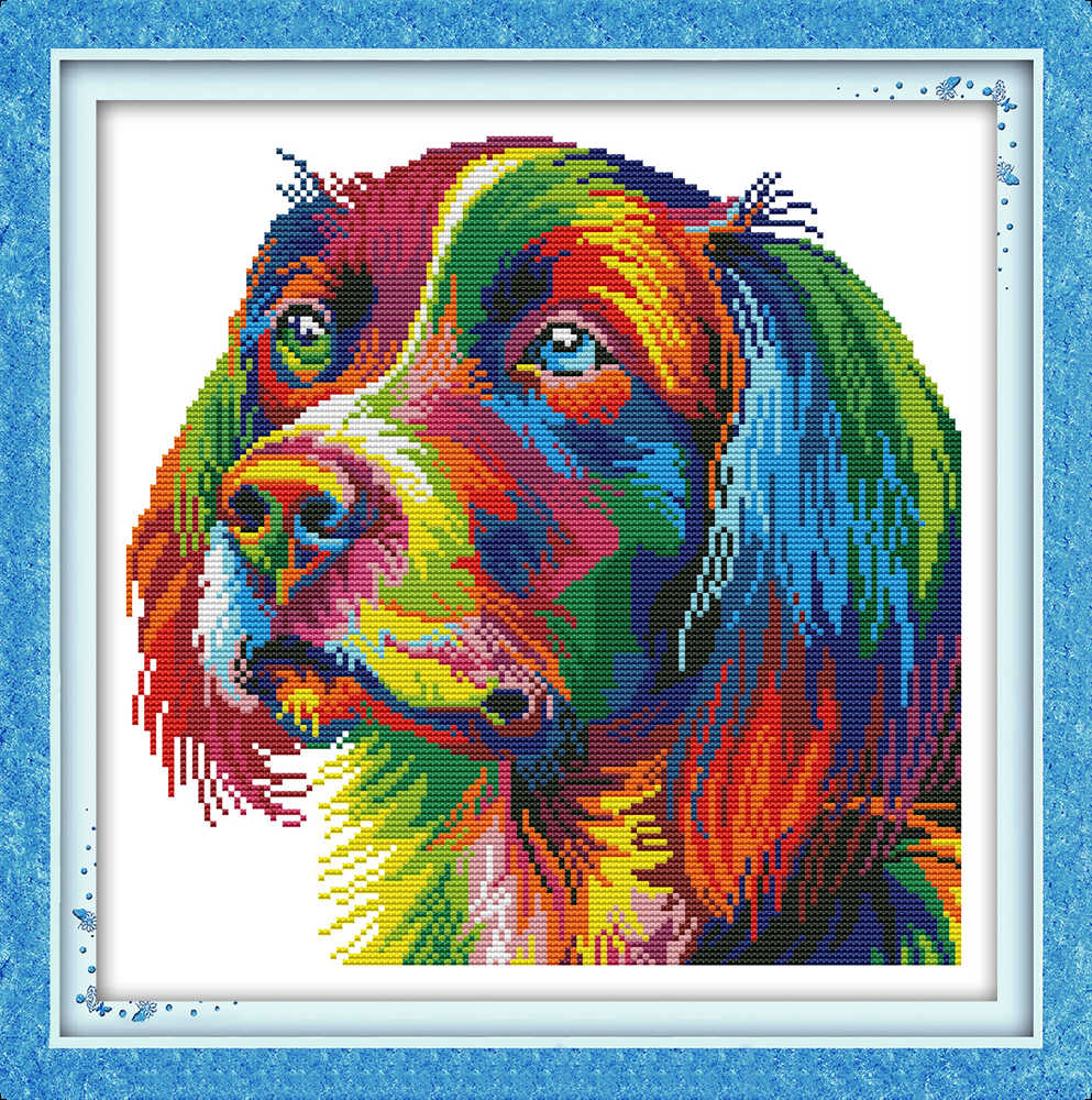 Rainbow dog cross stitch kit aida 14ct 11ct count printed canvas stitches embroidery DIY handmade needlework