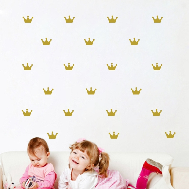 Бесплатная доставка 36 шт. Корона шаблон стены пасты наклейки для ребенка спальня украсить стены наклейки Принцесса девочка стены декор
