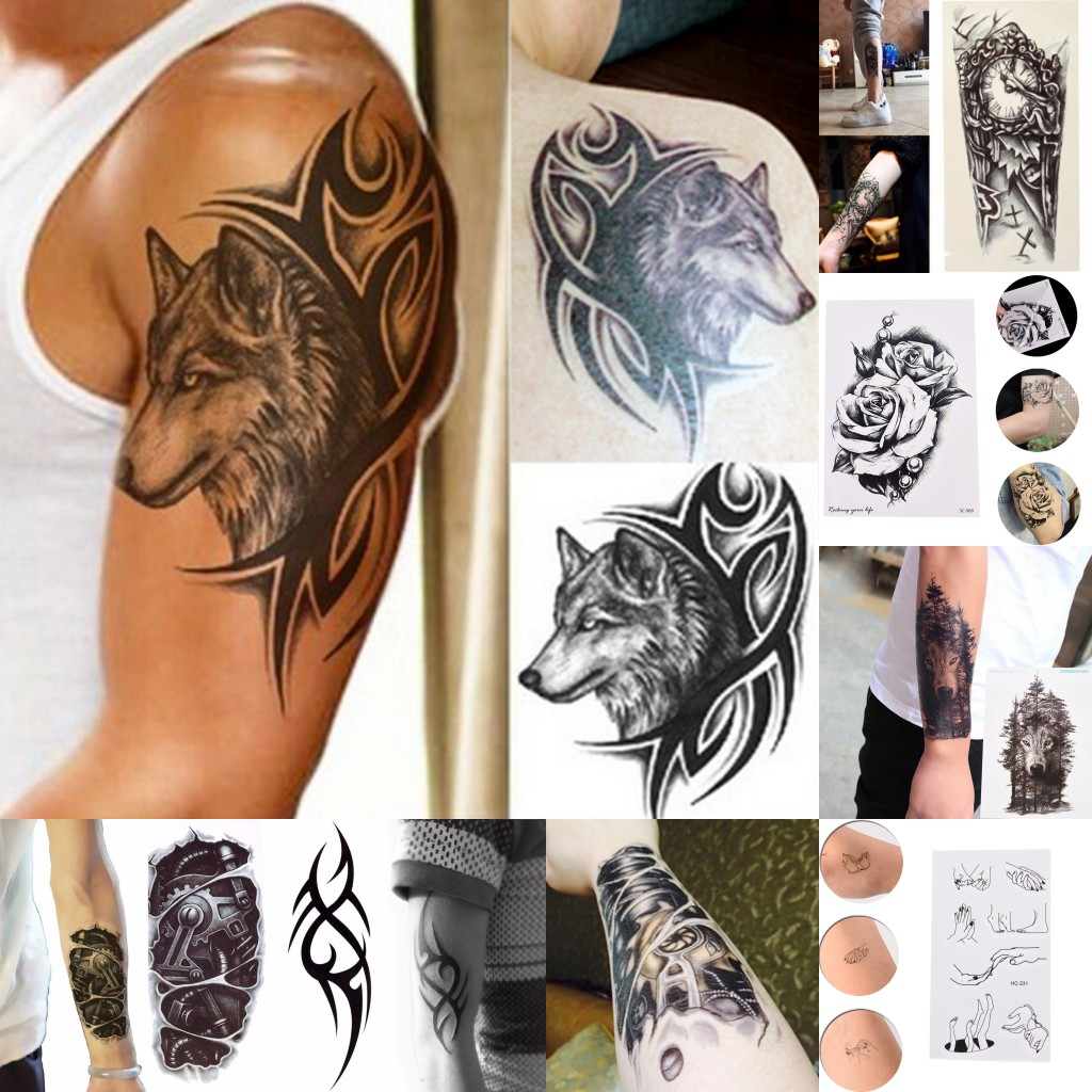 2019 New 8 Styles Waterproof Temporary Tattoo Sticker Wolf Head Totem Clock Forest Wolf Mechanical Transfer Tattoo Outdoor Tools