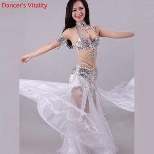 Image 4 - Handgemachte Perlen Stickerei Bh Rock Bauchtanz Kostüm Für Frauen Orientalischen Kleid Für Dance set nach maß Freies Verschiffen