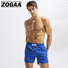 ZOGGA Summer Solid Knee Length Men Board Shorts with Drawstring 100% High-quality Polyester Breathable Male Bodybuilding Trunks