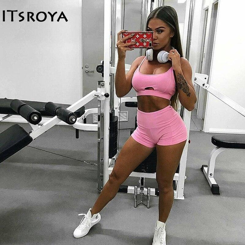 Itsroya 2018 Pink Top Hollow Yoga Leggings Women Sport