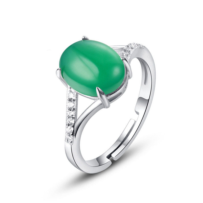 Noble Open Design Ring Guarantee Natural Green Chalcedony Sterling Silver 925 Ring Girl Friend Gift Top Quality