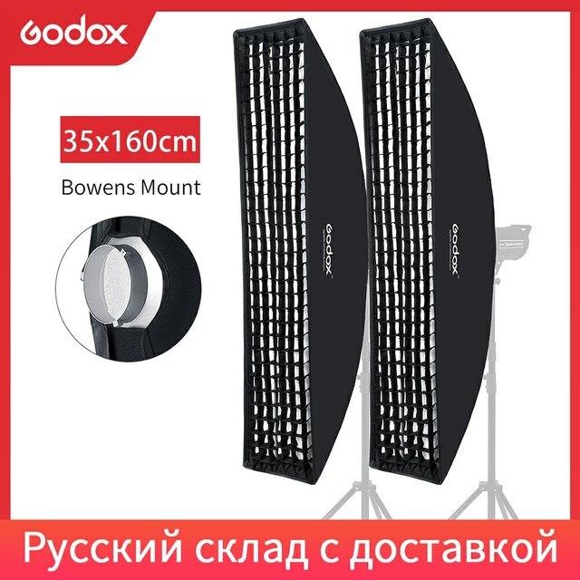 """2 PCS Godox 35x160 centimetri/14 """"* 63"""" Strip Beehive Griglia A Nido Dape Softbox con Bowens di montaggio per Flash da Studio DE300 DE400 SK300 SK400"""