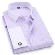 Boutons de manchettes, chemise française, tissu Jacquard, couleur unie, col blanc, chemise à manches longues