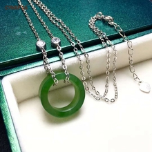 цена Certified Natural Hetian Jade Jasper Inlaid 925 Sterling Silver Lucky Jade Pendant Necklace Green High Quality Wonderful Gifts онлайн в 2017 году