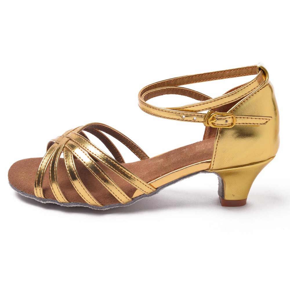 3.5 センチメートル/4 センチメートル子供ガールズ社交/ラテンダンスダンスシューズプロフェッショナルタンゴダンスシューズサルサ靴女性