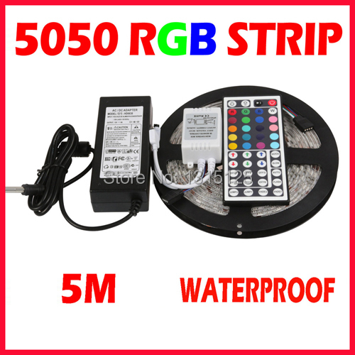 RGB LED Strip 5M 300Led 5050 SMD 44Key IR Remote Controller 12V Power Adapter Flexible L ...