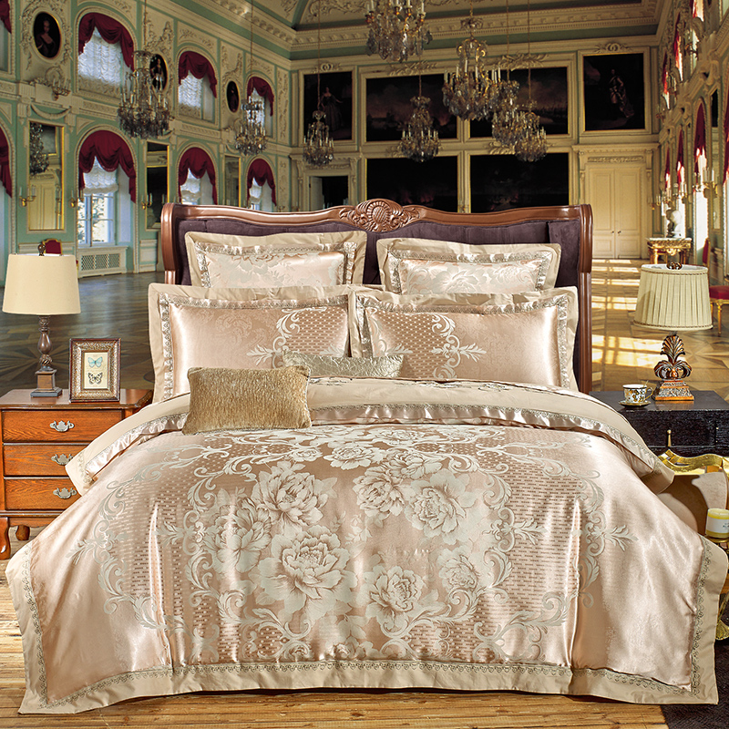 4/6Pcs Luxury Silk Cotton Jacquard Europe Elegance Bedding set Embroidery Duvet Cover Set Bed Sheet Pillowcases Queen King Size4/6Pcs Luxury Silk Cotton Jacquard Europe Elegance Bedding set Embroidery Duvet Cover Set Bed Sheet Pillowcases Queen King Size
