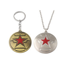 Hot The Avengers Captain America Winter Soldier Shield keychain Pendant Bronze Silver 2 Color High Quality Metal Mens Jewelry