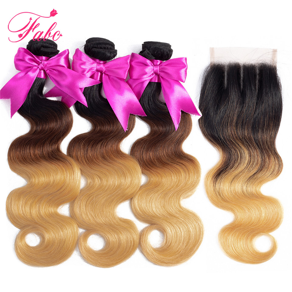 FABC hair Ombre Brazilian Body Wave Bundles with Closure Remy Hair Weave 1b 4 27 Blonde