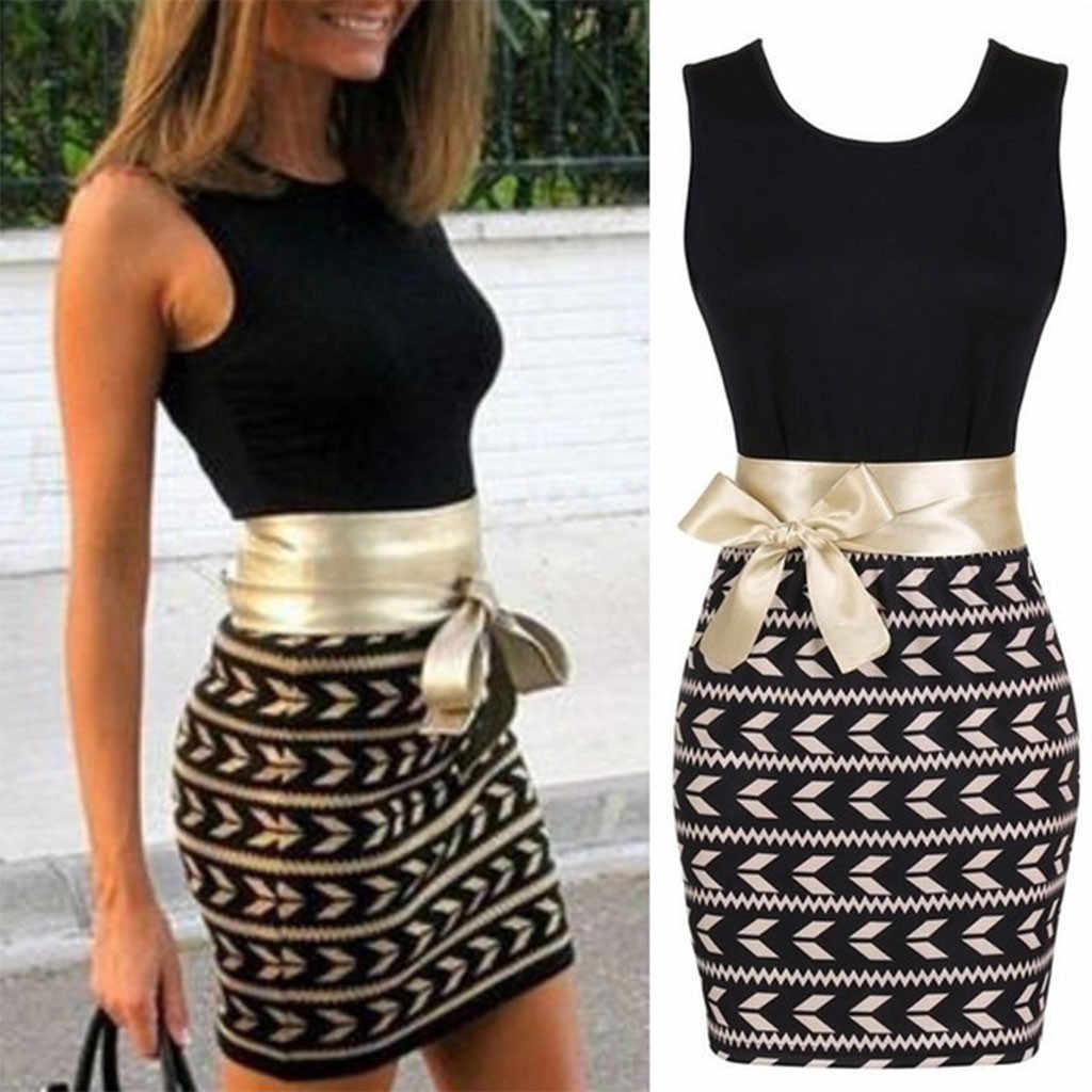 Модное женское повседневное сексуальное мини-платье без рукавов с круглым вырезом и узким поясом vestidos de verano, летняя одежда для женщин