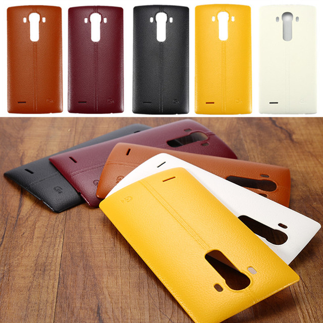 2775ad6b8 Battery Cover For LG G4 Plastic Leather Housing Battery Door Replacement  Side Button Back Cover With NFC Chip For LGG4